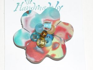 Clay and Crystals Flower Pin