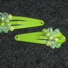 Green Embellished Hair Clips