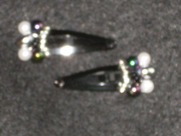 Black embellished hair clip