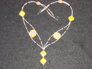 (order only)Exotic Yellow Turquoise with Kaleidoscopic Polymer Clay and Silver.