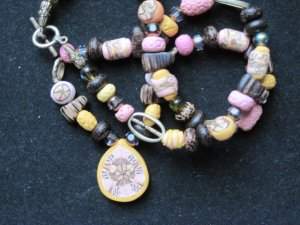 Pink and Yellow Kaleidoscopic medallion with exotic wood