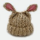 Beige Lamb Eared Soft Knit Baby Hat Newborn to Infant