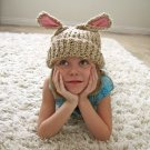 Lamb Eared Soft Knit Hat Beige Lamby Toddler to Kid Size