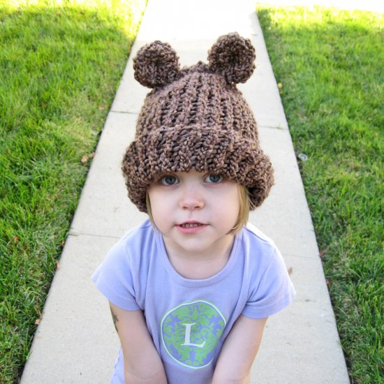 CoCoaBear Head Chocolate Bear Eared Toddler to Kid Sized Soft Knit Hat