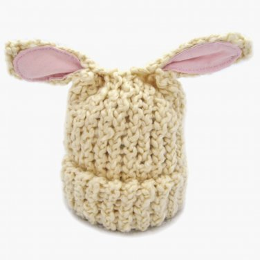 Cream Lamb Eared Soft Knit Baby Hat Newborn to Infant