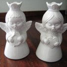 2 White Dresden Angels Candleholders - Crown Mark & N