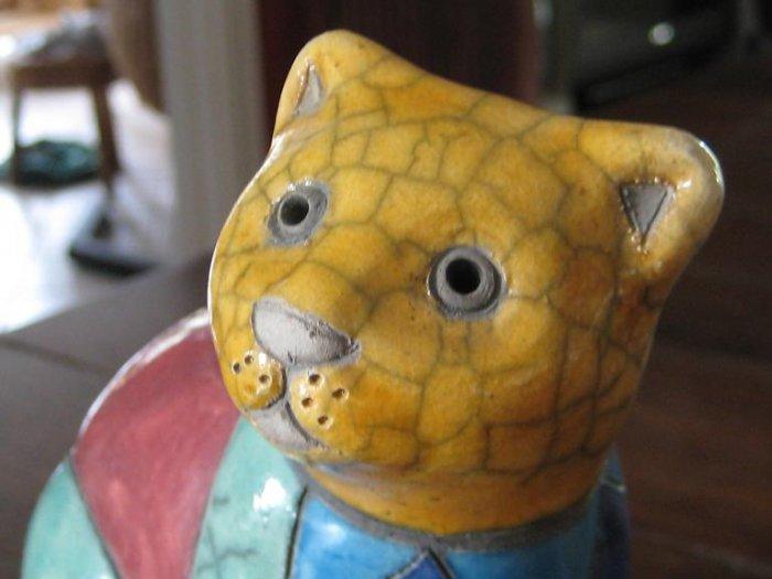 Raku Pottery Stoneware Sitting Cat - Signed