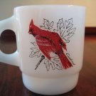 Vintage Anchor Hocking Fire King Mug - Cardinal and Blue Jay