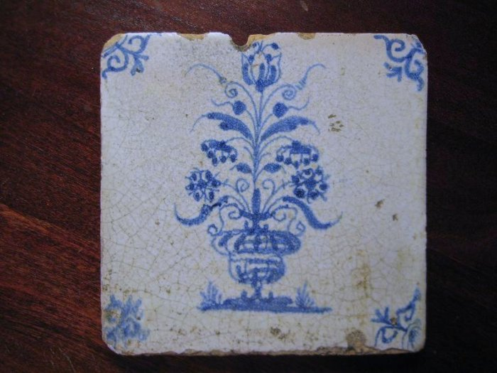 Antique 18th Century Blue and White Delft Flower Vase Tile