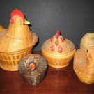 5 Woven Wicker and Wood Boxes -  Chickens, Ducks, Pig
