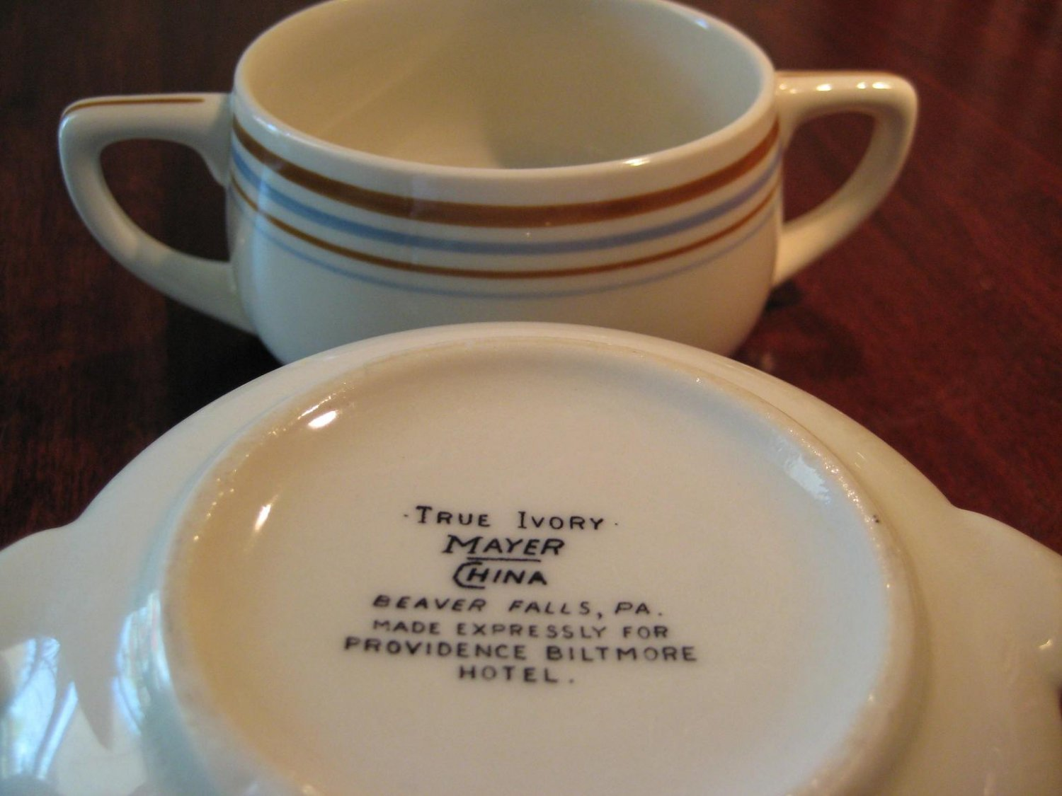 2 Mayer China Restaurant Ware Providence Biltmore Hotel Cream Soup Cups