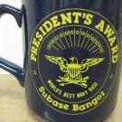 Rare President's Award Navy USN Bangor Subase Submarine Base Mug