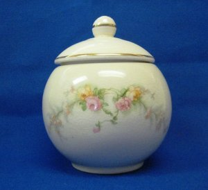 Harker Pottery Bakerite Sweetheart Rose Sugar Bowl & Lid