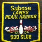 Submarine Subase Lanes Pearl Harbor Hawaii Bowling Patch 500 Club