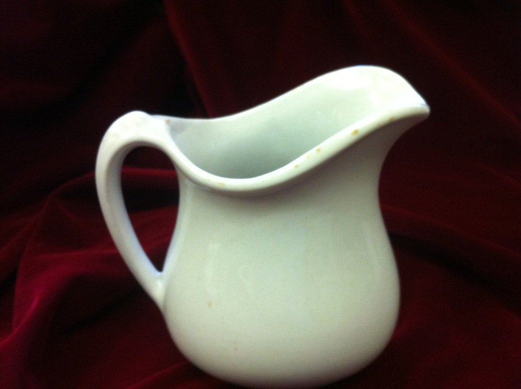 Vintage Art Deco Tepco China Pottery Restaurant Ware Ironstone White Large Pitcher