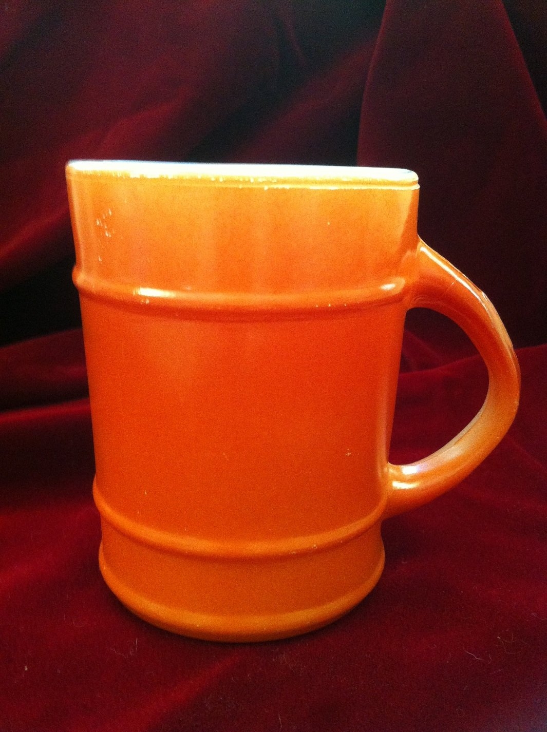 Fire-King Burnt Orange Ranger Barrel Mug