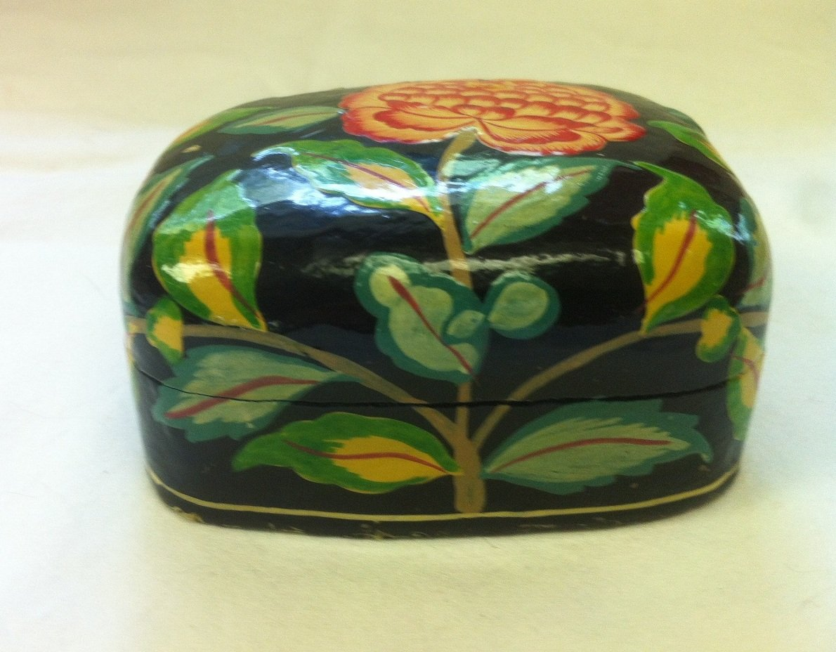Paper Mache' Box with Flowers from India
