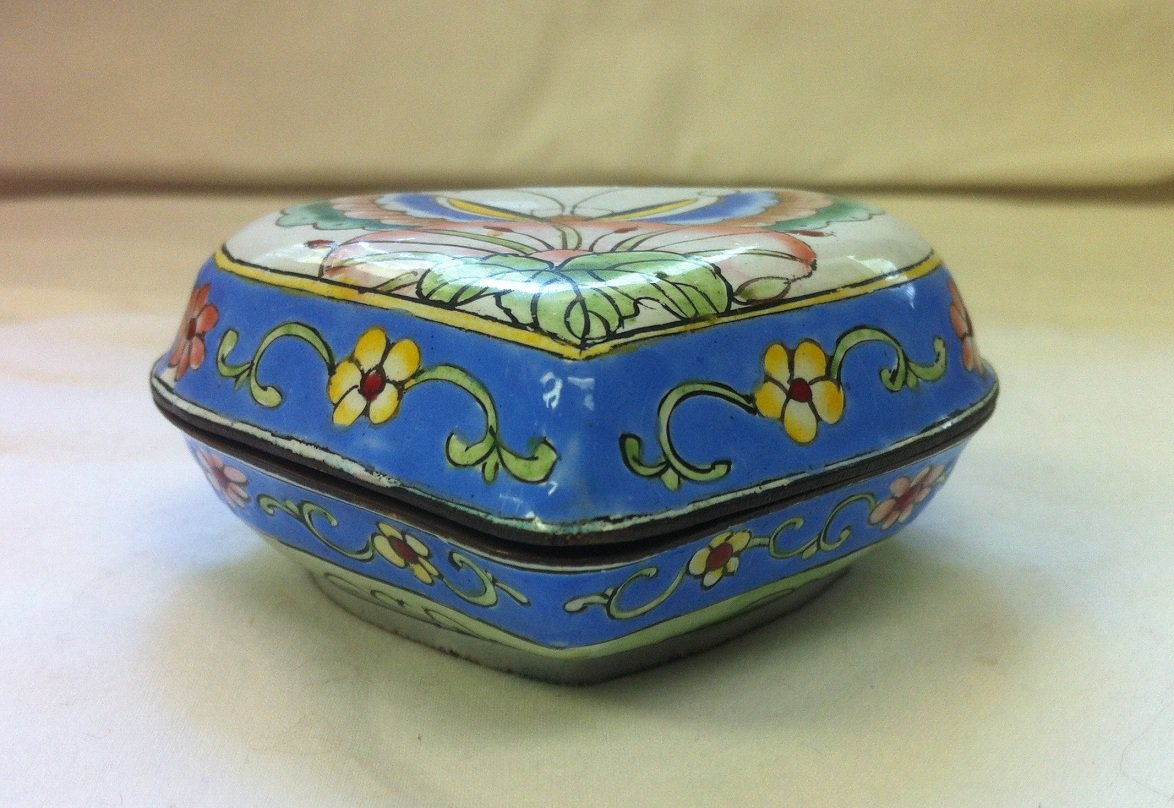 Enameled Brass Heart Shaped Box with Butterfly