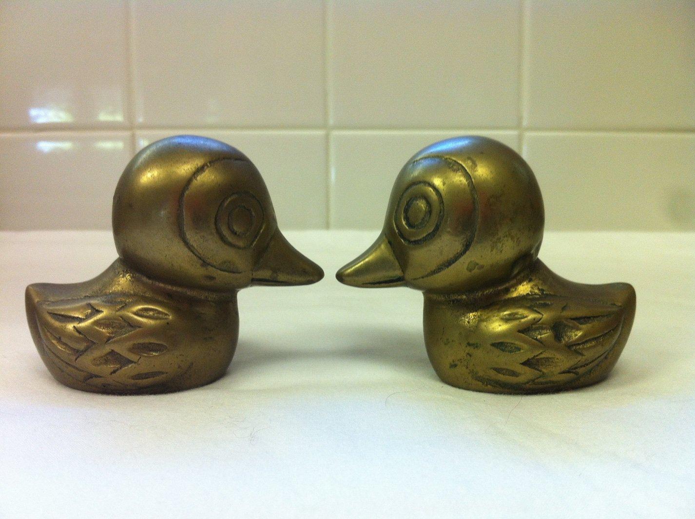 2 Heavy Brass Paper Weight Baby Ducks