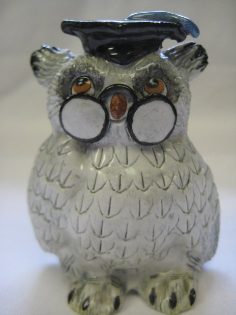 Vintage Basil Matthews England Owl with Glasses and Graduation Cap Figurine