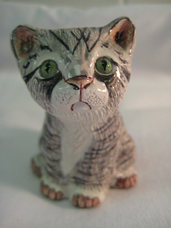 Vintage Basil Matthews England Gray Striped Kitten Cat Figurine