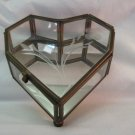 Vintage Heart /shaped Octagon Brass &  Glass Footed Box