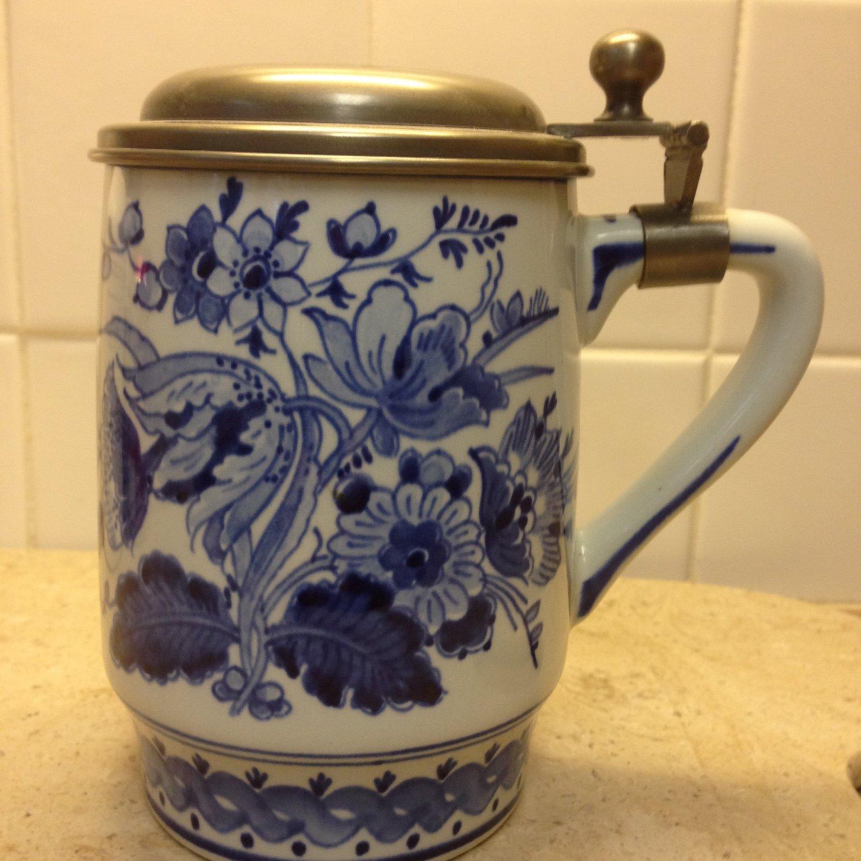 Royal Delft De Porceleyne Fles Large Tankard/Stein with Pewter Lid