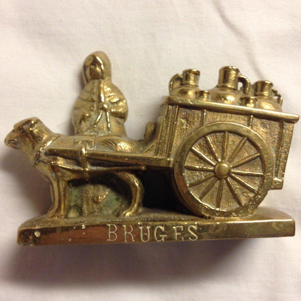 Antique Bruges Cast Brass Dog Peasant Woman Figurine Belgium Milk Cart
