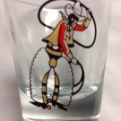 Dominion Glass Canada Shot Glass with Cowboy in Chaps and Lasso