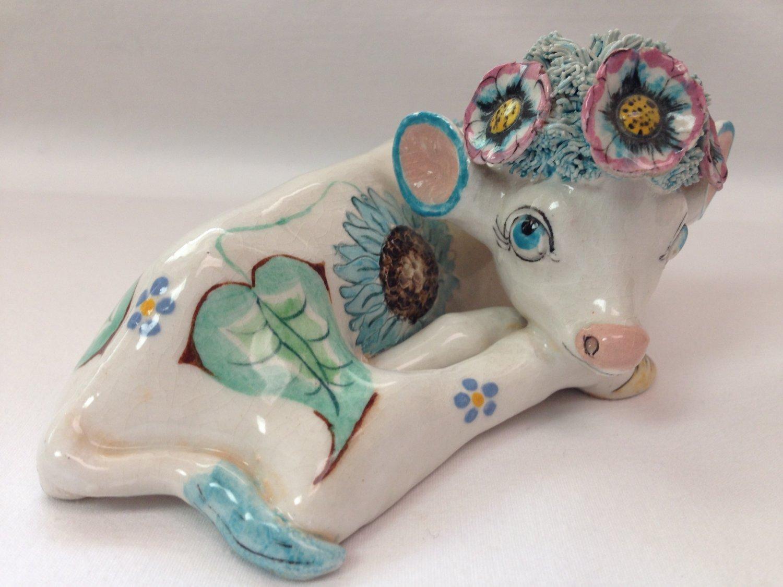 Arts and Crafts Style Basil Matthews England Cow Calf Nicki Figurine