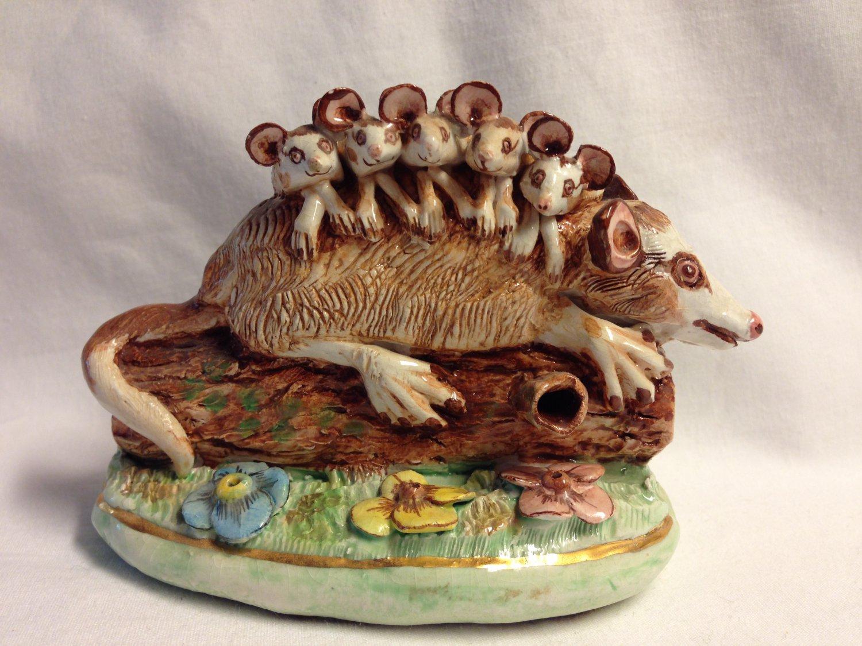 Vintage Basil Matthews England Figurine Possum Family on a Log