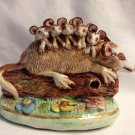 Vintage Basil Matthews England Figurine Possum Family on a Log