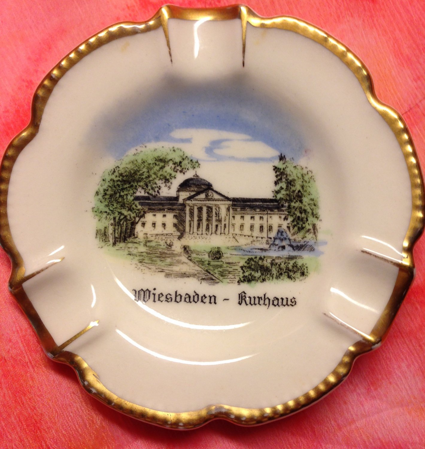 Hand Painted Porcelain Souvenir Ashtray Made By Waldershof  Of Bavaria Germany