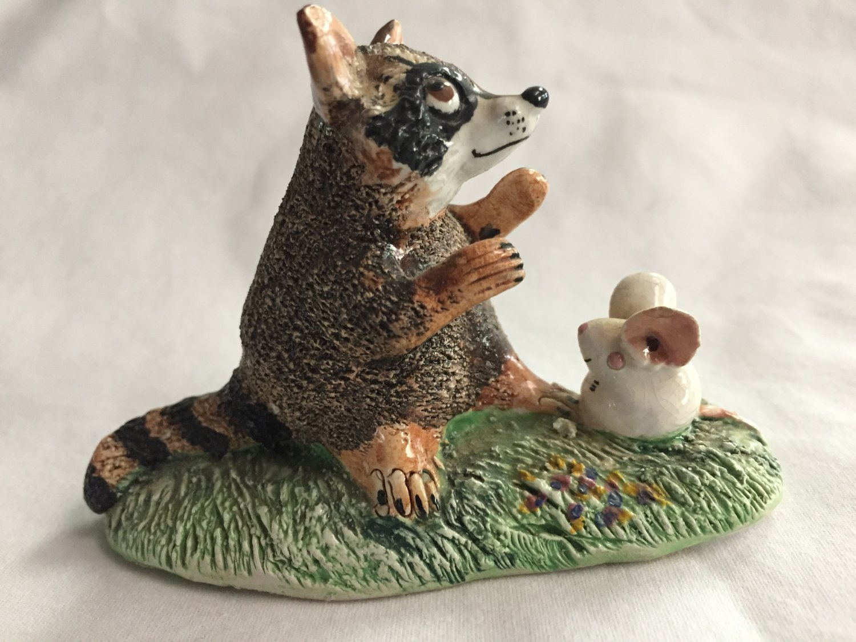 Vintage Basil Matthews England Raccoon and Mouse Figurine