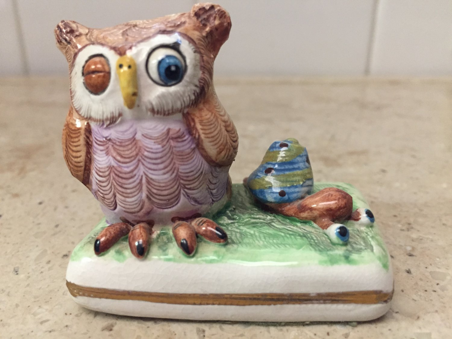 Basil Matthews England  Owl and Snail Figurine - Signed