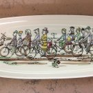 Goedewaagen Gouda Plate People on Bicycles signed V Gool