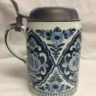 OUD Delft Hand Painted Large Tankard/Stein with Pewter Lid