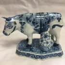 OUD Delft Hand Painted Blue and White Cow with Milkmaid