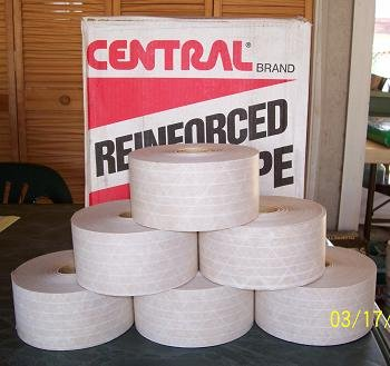 "Central Reinforced Tape 3""x450' White (BEIGE) Kraft 6 Rolls 250 Grade"