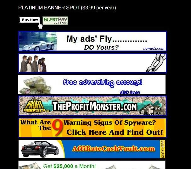 PLATINUM BANNER SPOT ($3.99 per year for 10 years)