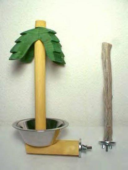 PALM TREE TREAT DISH WITH MANZANITA PERCH COCKATIELS AFRICAN GREYS