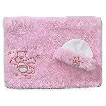 Care Bears Pink poodle plush cap & blanket set in pink