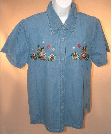 Ladies Denim Bakery Shirt Size Medium