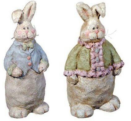 """NEW"" MR. BUNNY AND MRS. BUNNY - PAPER MACHE - 7.25"""