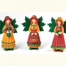 """NEW"" THREE HANDPAINTED COUNTRY ANGELS - 5.5""H"
