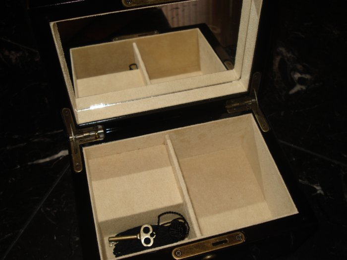 Pottery Barn Wooden Jewelry Box with Lock & Key
