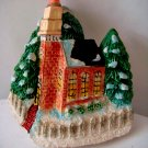 Miniature Plaster Red Brick Church on Corner + magnet