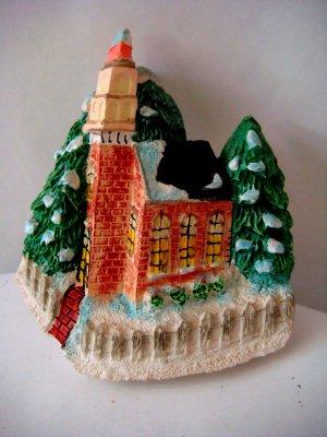 Miniature Plaster Red Brick Church on Corner + magnet