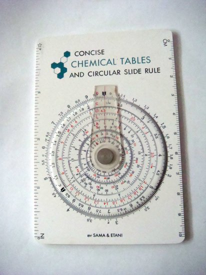 Concise Chemical Table Circular Slide Rule Sama & Etani