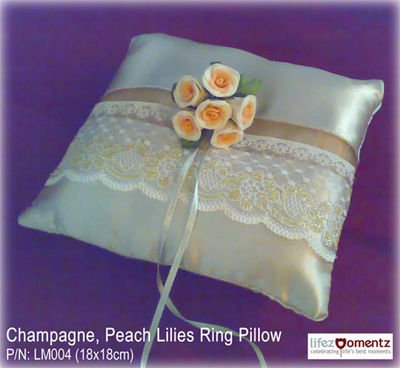 Champagne, Peach Lilies Ring Pillow for Wedding/ROM (LM006)
